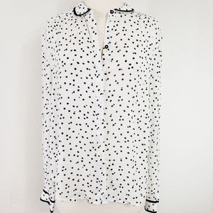 Maeve by Anthro Navy Polka Dot Button Down Size 8
